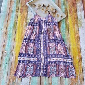 Lucky Brand Boho Printed Festival Midi Dress L